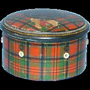 Tartan Ware Prince Charlie Plaid Spool Thread Holder Box George Clark Mauchline 19thC