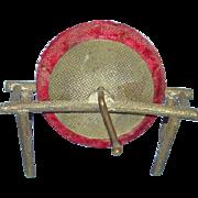 Old Novelty Sewing Pin Holder Metal Old Fashion Grinding Wheel Red Velvet Needlework Tool