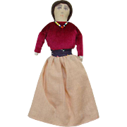 Vintage Apache Indian Cloth Doll C1940-1950 Squaw 8 Inch Museum Deaccession
