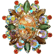 Juliana Coral Gold Stippled Easter Egg Rhinestone Pendant Brooch Pin C1963 DeLizza Elster