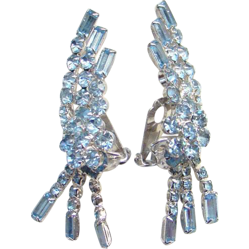 Vintage Dramatic Earrings Light Sapphire Blue Rhinestone Climber Dangle Silvertone Setting