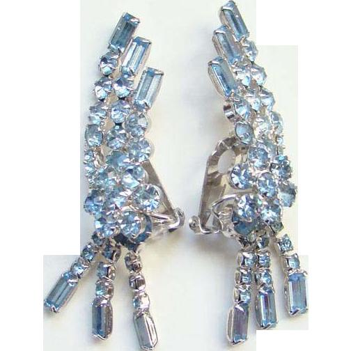Vintage Dramatic Earrings Light Sapphire Blue Rhinestone Climber Dangle Silvertone Setting