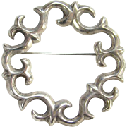 Sand Cast Sterling Silver Pin Brooch Navajo Style Southwestern Tribal Boho Bohemian