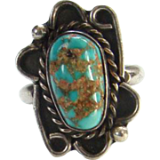 Navajo Turquoise Nugget Ring Sterling Silver Size 6 Signed PD Southwestern Tribal Boho Bohemian