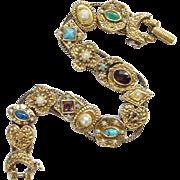 Vintage Goldette NY Slide Bracelet Signed Single Strand Goldtone