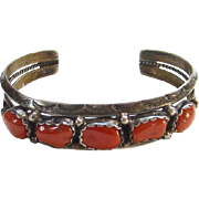 Navajo Style Coral Cuff Row Bracelet Sterling Silver Signed BB Southwestern Tribal