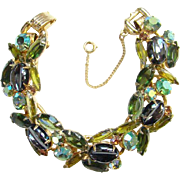 Juliana Bracelet Oval Scooped Out Hematite Green Rhinestone 5 Link C1961 DeLizza Elster