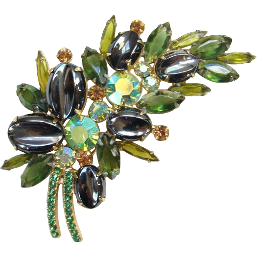 Juliana Oval Scooped Out Hematite Green Rhinestone Brooch Pin C1961 DeLizza and Elster