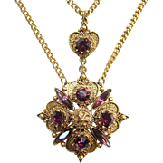 Florenza Victorian Revival Style Pendant Necklace Amethyst Rhinestone Vintage Costume Jewelry