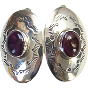 Sterling Silver Amethyst Clip Earrings Southwestern Tribal Stamp Decoration Boho Bohemian