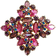 Juliana DeLizza Elster Pink Amethyst Blue Rhinestone Brooch Pin D&E Verified Book Piece