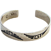 Riley Polequaptewa Cuff Bracelet Hopi Silversmith Guild Sterling Silver Marked