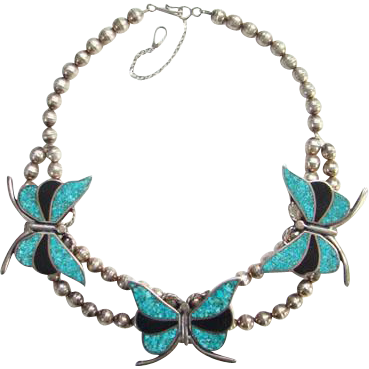 Vintage Turquoise Jet Chip Inlay Butterfly Necklace Navajo Style Southwestern Tribal Boho Bohemian