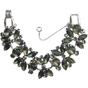 Juliana Gun Metal Frosted Glass Rhinestone 5 Link Bracelet D&E 1960s Verified Book Piece