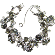 Juliana DeLizza Elster Clear and Black Diamond Rhinestone Cluster Bracelet 5 Link D & E Silvertone