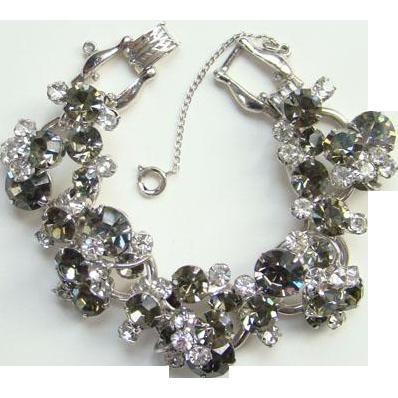 Juliana DeLizza Elster Clear and Black Diamond Rhinestone Cluster Bracelet 5 Link D & E Silvertone