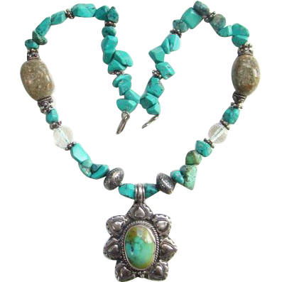 Vintage Sterling Silver Turquoise Nugget Bead Choker Necklace Boho Bohemian Ethnic Gypsy Hippie 16 Inch