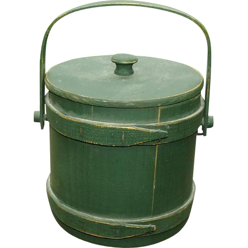 New England Primitive Handled Firkin Bucket in Green Paint Stapled Bands Folk Art
