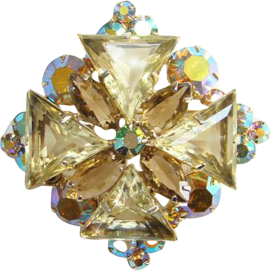 Juliana DeLizza Elster Jonquil Yellow Triangle Aurora Borealis Rhinestone Pendant Brooch Pin Verified D & E 1963