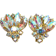 Aurora Borealis Sparkling Clip Earrings Goldtone Setting Vintage Costume Jewelry