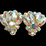 Aurora Borealis Sparkling Clip Earrings Goldtone Setting Vintage Costume Jewelry