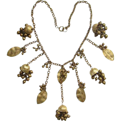 Bib Necklace Gold Tone Leaves and Chimes Costume Jewelry Boho Bohemian Old