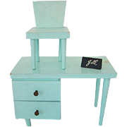 Vogue Jill Doll Aqua Green Desk and Chair Set 1958-59 Name Plate Box