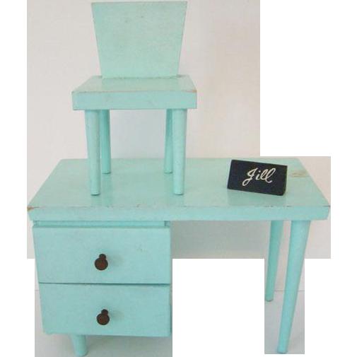 Vogue Jill Doll Aqua Green Desk and Chair Set 1958-59 Name Plate Box