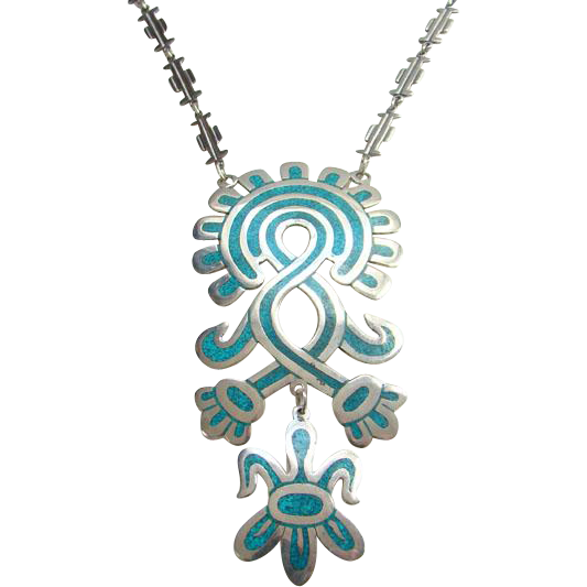 Vintage Taxco Mexico Mexican CDL Sterling Silver Turquoise Aztec Mayan Inspired Pendant Necklace Boho Bohemian