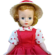 C1957 Cissette Doll in Tagged Red Taffeta Jumper Dress Straw Hat Madame Alexander