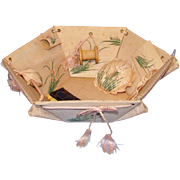 Vintage Pink Silk Sewing Basket Handpainted Flowers with Original Needlework Tools Wonderful