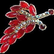 Vintage Cherry Red Cabochon Rhinestone Brooch Pin Stylized Leaf Aurora Borealis Costume Jewelry