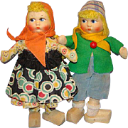 Georgene Novelty Nu-Art Hansel and Gretel Cloth Doll Pair 11 Inch C1940s