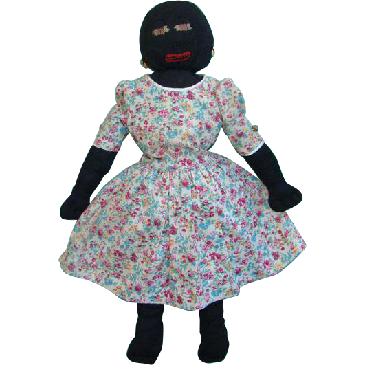 Black Stockinette Cloth Rag Doll Embroidered Features Floral Dress C1920-1930s 22 Inch