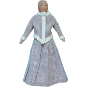 Old Cloth Doll Painted Head Button Jointed Massachusetts Estate 12 Inch