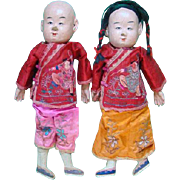 Old Composition Cloth Chinese Doll Pair Boy Girl 15 Inch Massachusetts Estate