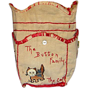 Vintage Button Bag The Button Family and Cat Embroidered with Button Faces Drawstring with Pockets C 1920's Handmade Sewing Basket Accessory