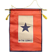 American World War II Red White Service Flag One Blue Star In The Service WWII