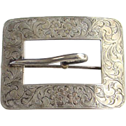 Victorian Repousse Silver Buckle Sash Pin Brooch Hallmarked Sterling