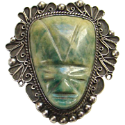 Taxco Mexico 925 Green Agate Sterling Silver Mask Face Pin Brooch Hallmarked