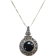 Vintage Black Onyx and Marcasite Pendant Necklace 925 Sterling Silver 17.5 Inch