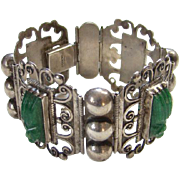 Taxco Mexico 925 Sterling Silver Hinged Bracelet Green Agate Mask Masquette Mexican Jewelry Signed