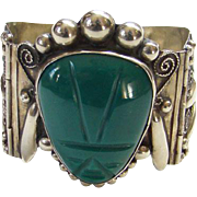 Taxco Mexico 925 Sterling Silver Hinge Bracelet Green Agate Mask Masquette Mexican Jewelry Signed HAM