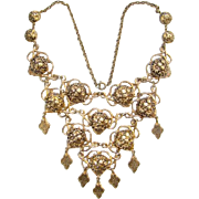 Goldtone Bib Necklace with Dangles Repousse Links Bohemian Chic Style Vintage
