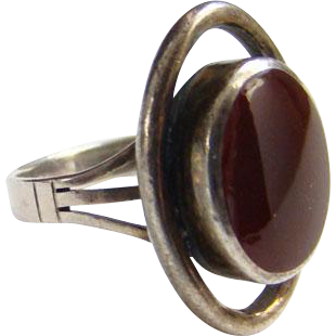 Sterling Silver Ring Carnelian Stone Abstract Design Size 6.5 Vintage Marked 925