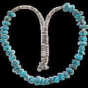 Southwestern Turquoise Nugget Bead Heishi Choker Necklace Boho Bohemian Chic