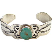Sterling Silver Overlay Navajo Cuff Bracelet Turquoise Stone Signed LJ Native American