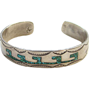 Herman Coan Navajo 1776 1976 Cuff Bracelet Turquoise Coral Chip Inlay Sterling Silver Native American Indian Jewelry