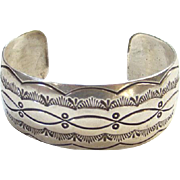 L Spencer Navajo Sterling Silver Cuff Bracelet Native American Indian C1970s