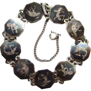 Siam Sterling Bracelet Three Elephants Dancing Goddesses Black Niello Enamel Hexagon Links C1930 Silver Jewelry